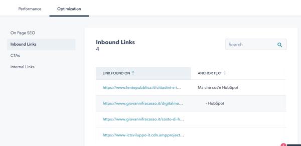 [realizzazione sito hubspot] cos: link in entrata