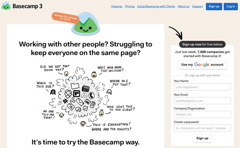 basecamp landing page esempio