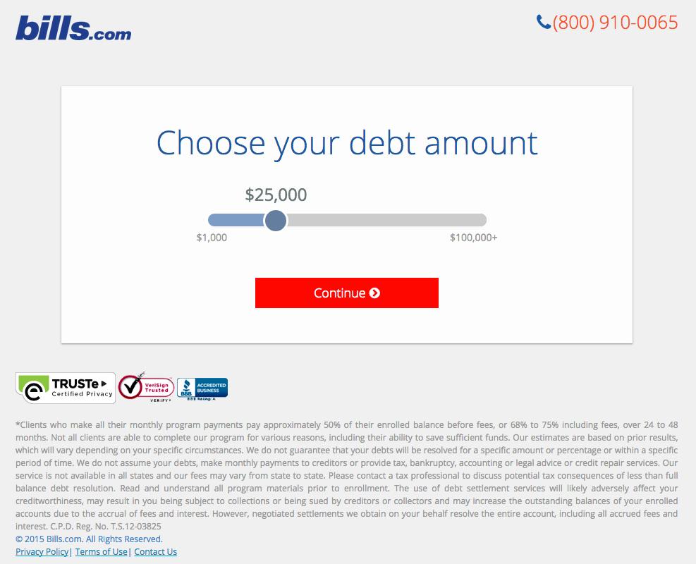 bills.com landing page esempio 1