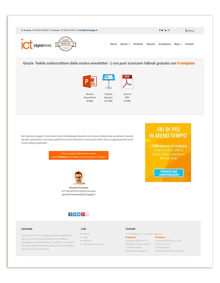 esempio thank-you page
