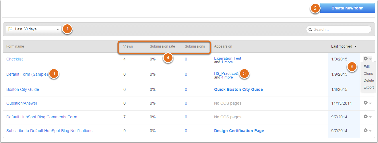 dashboard form hubspot