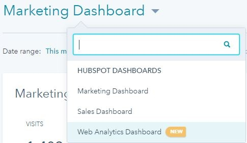 HubSpot Web Analytics Dashboard Menu