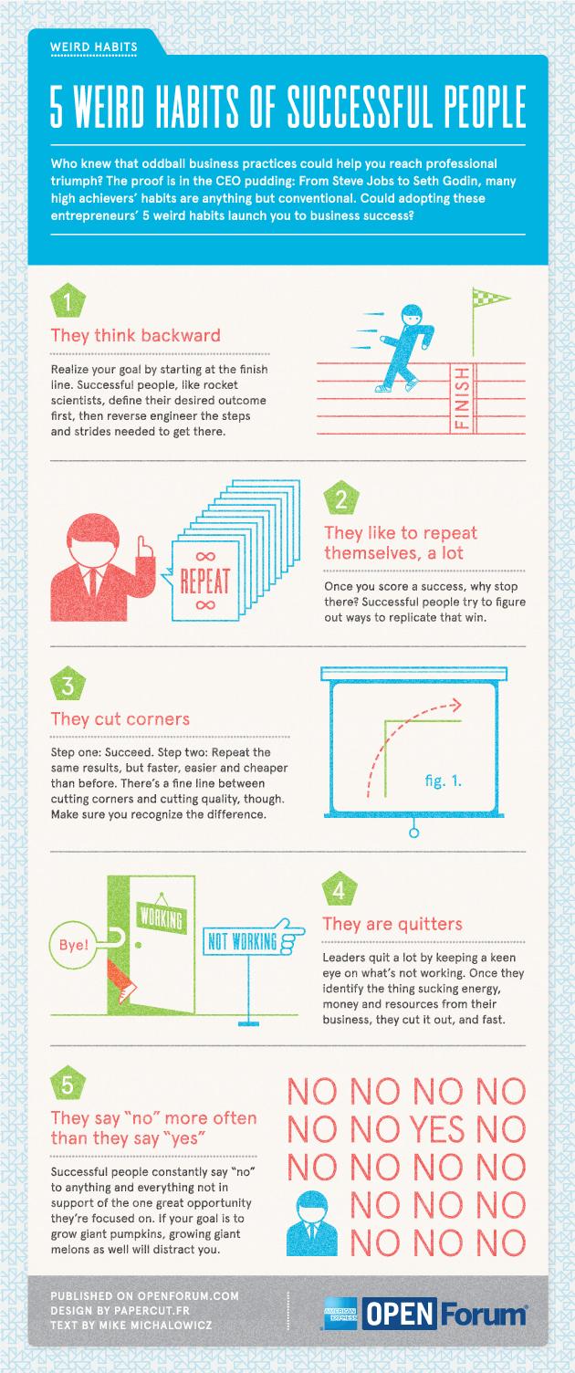 infografica 5 strane abitudini persone successo