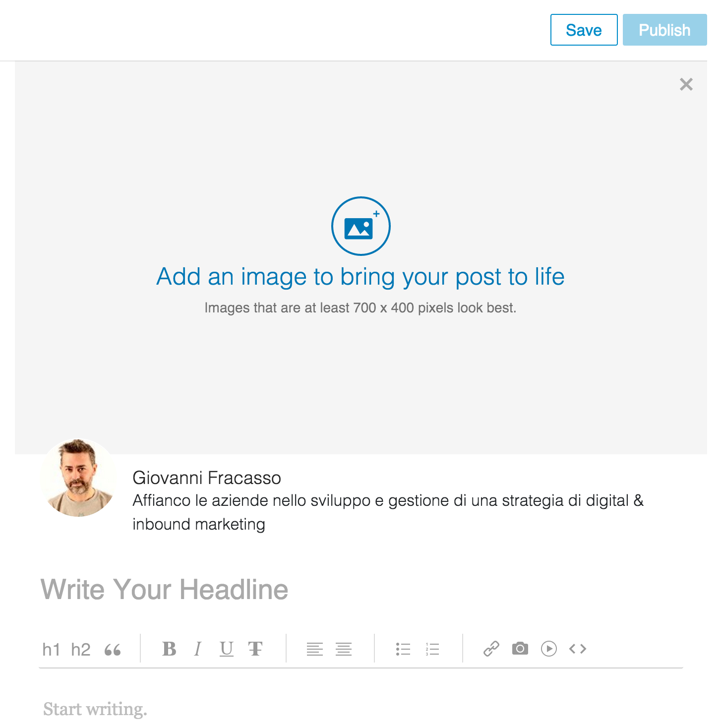 interfaccia blog linkedin