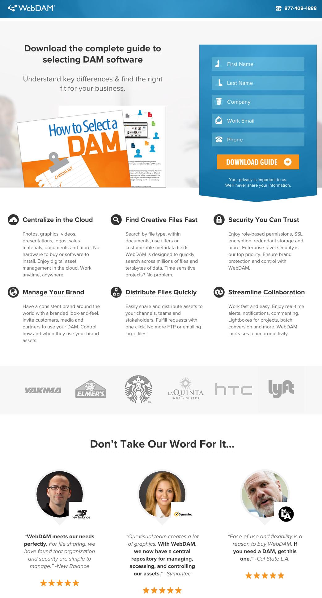 webdam landing page esempio