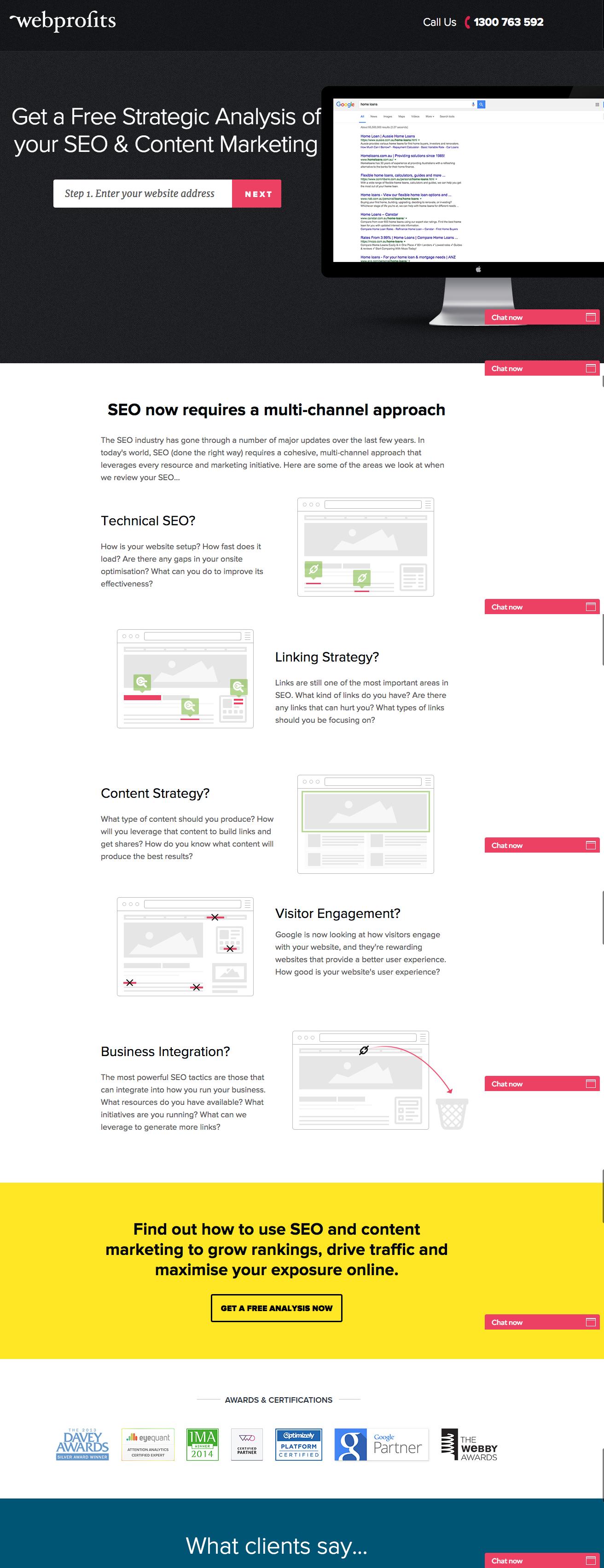 webprofits landing page esempio