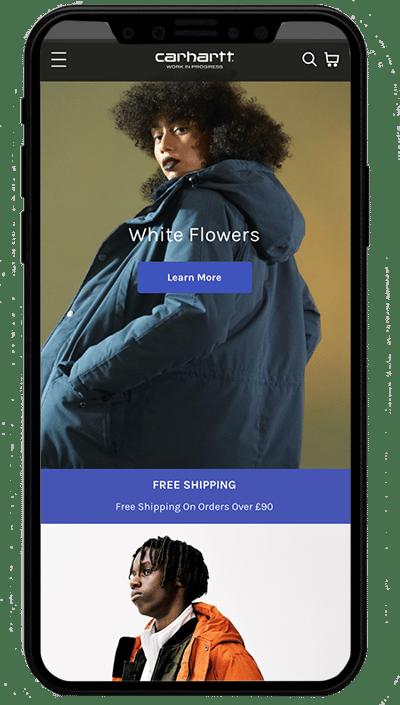 carhartt mobile . realizzato con shopify plus