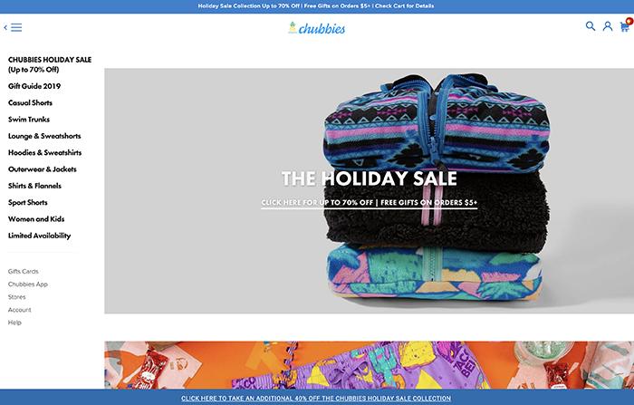 chubbies - sito realizzato con shopify plus