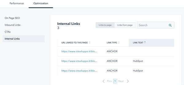 [realizzazione sito hubspot] cos: internal link