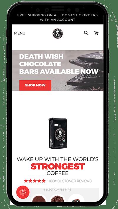 death wishcoffee - mobile . sito realizzato con shopify plus