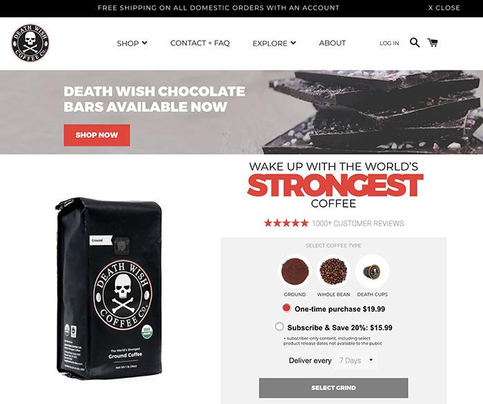 deathwishcoffee - sito realizzato con shopify plus