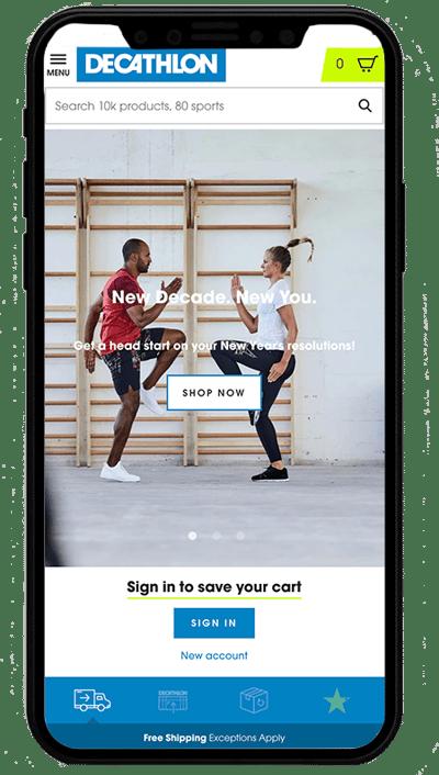 decathlon.com mobile - sito realizzato con Shopify Plus