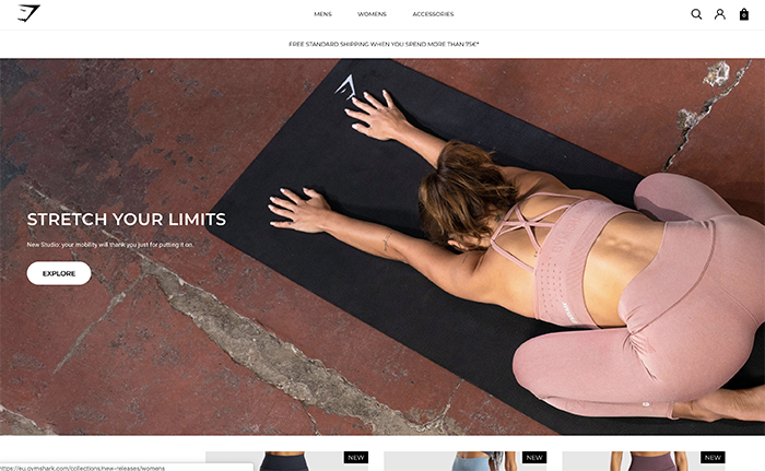 gymshark - realizzato con shopify plus
