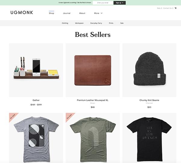 migliori ecommerce shopify:  01  ugmonk
