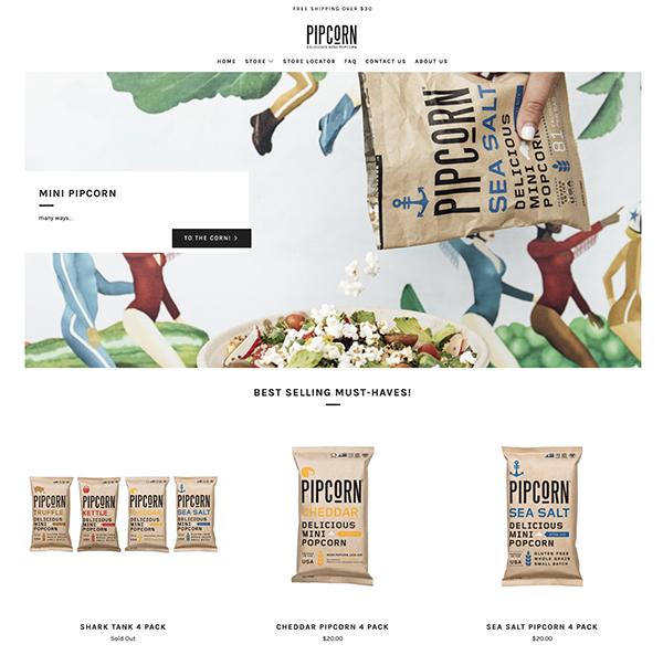 migliori ecommerce shopify: 02 pipcorn