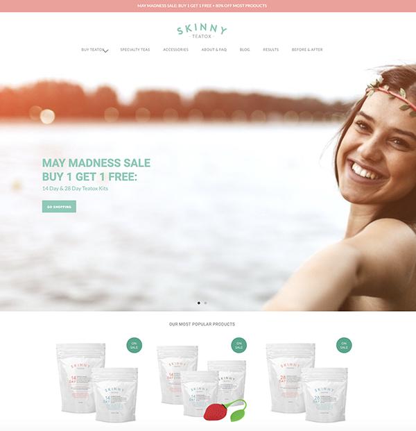 migliori ecommerce shopify: 05 skinny teatox