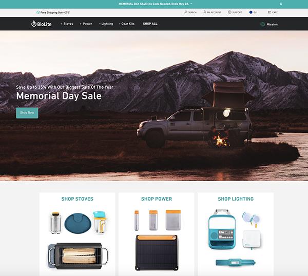 migliori ecommerce shopify :07 biolite