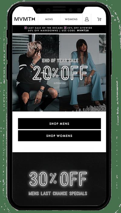 mvmt watches mobile - sito realizzato con Shopify plus