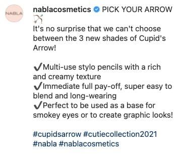 nabla esempio hashtag