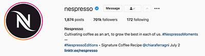 Il brand Nespresso su Instagram