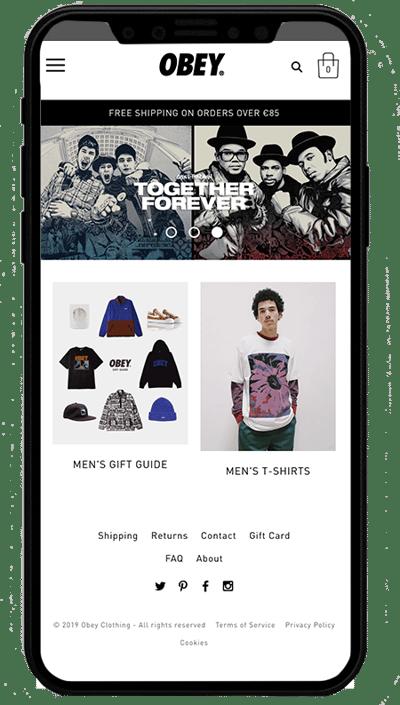 obey mobile - sito realizzato con Shopify Plus