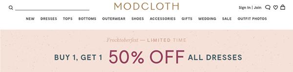 pubblicitò e-commerce modcloth