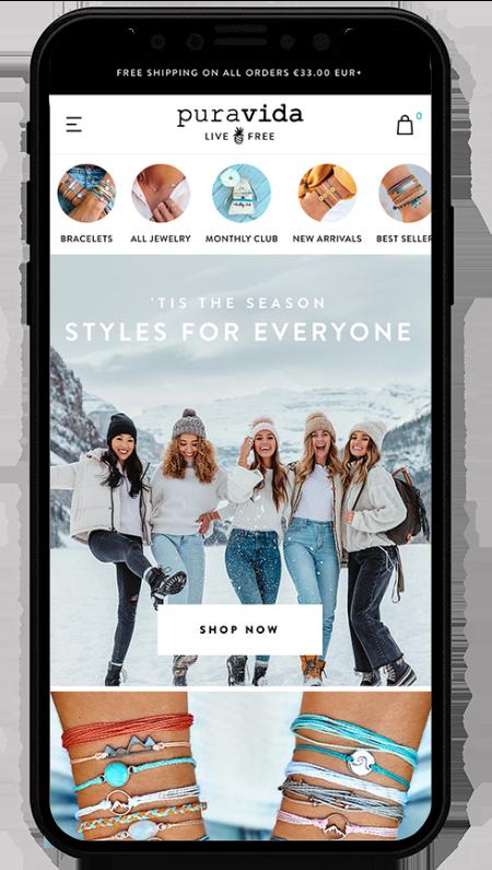 pura vida mobile - sito realizzato con shopify plus