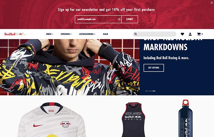 red bull shop us - sito realizzato con shopify plus