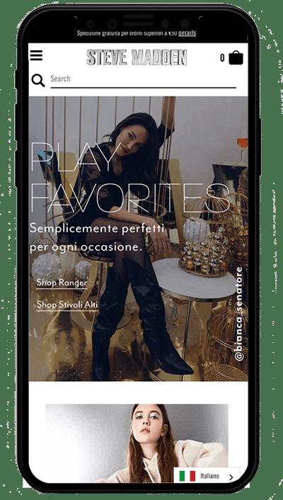 steve madden italy mobile - sito realizzato con shopify plus