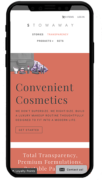 stowaways cosmetics mobile - shopify plus