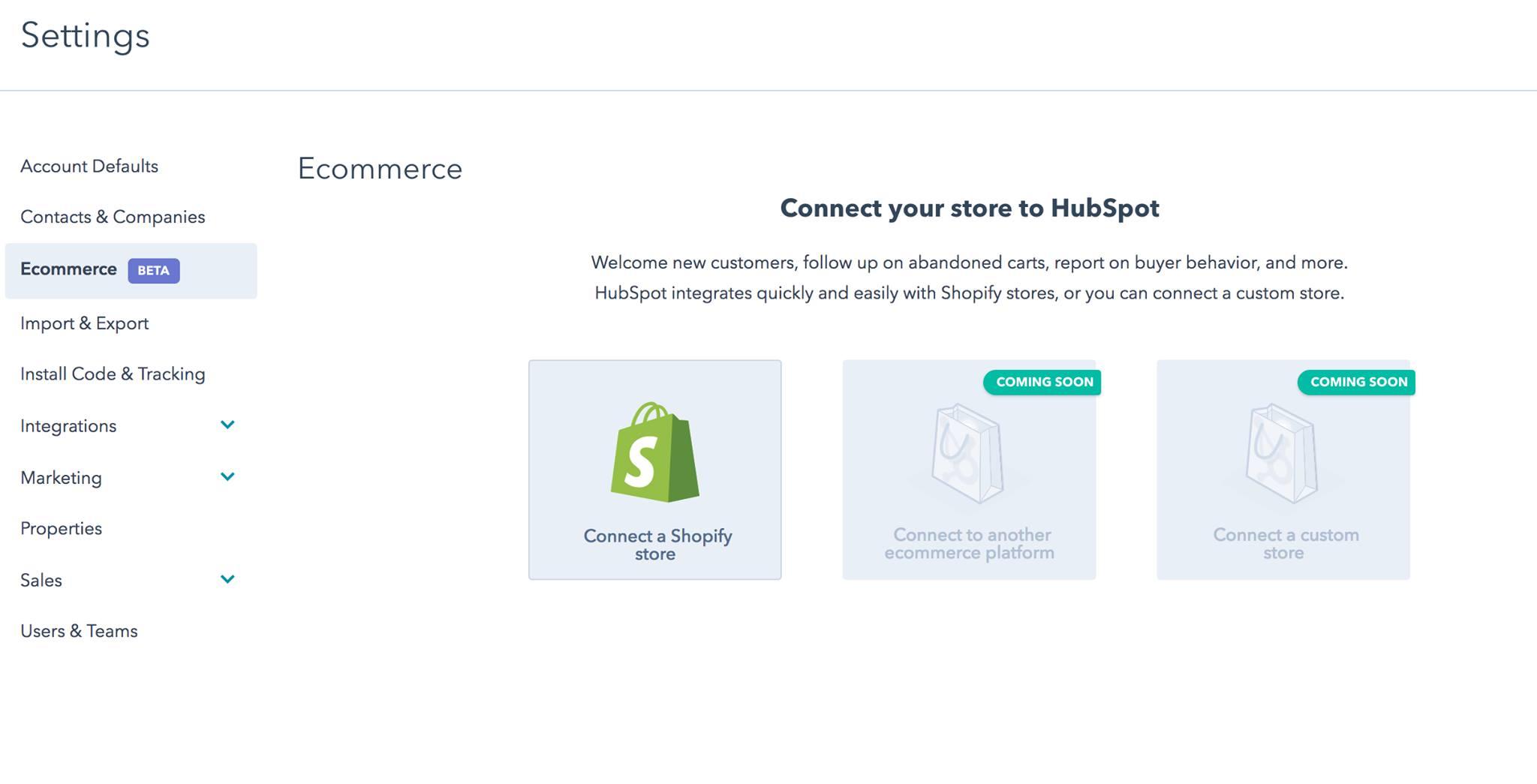 integrazione hubspot shopify
